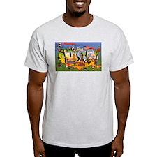 USA America Greetings (Front) Ash Grey T-Shirt