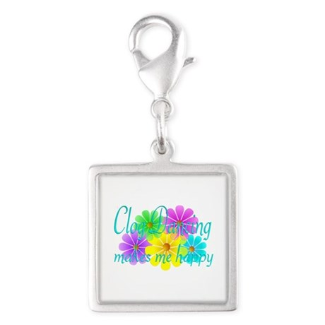 Clog Dancing Happiness Silver Square Charm
