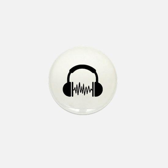 Headphones Frequency DJ Mini Button