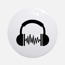 Headphones Frequency DJ Ornament (Round)