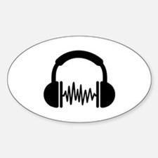 Headphones Frequency DJ Sticker (Oval)