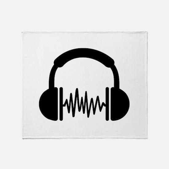 Headphones Frequency DJ Throw Blanket