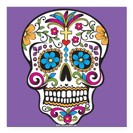 "Sugar Skull Halloween Purple Square Car Magnet 3"""