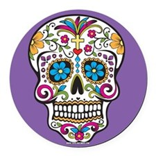 Sugar Skull Halloween Purple Round Car Magnet