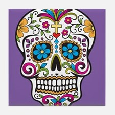 Sugar Skull Halloween Purple Tile Coaster