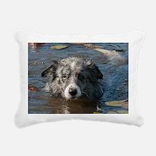 Blue Merl Rectangular Canvas Pillow