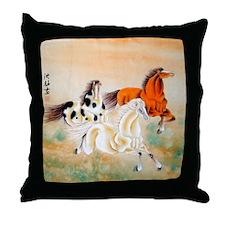 Vintage Oriental Art - Horses Throw Pillow