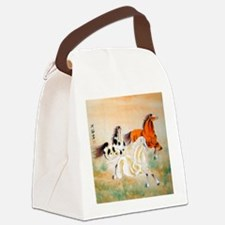 Vintage Oriental Art - Horses Canvas Lunch Bag