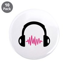 "Headphones Frequency Pulse 3.5"" Button (10 pack)"