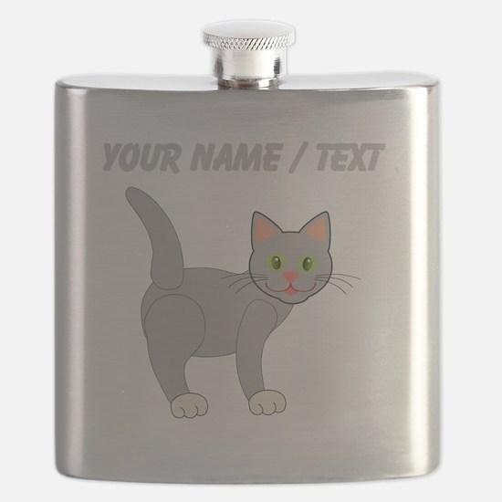 Custom Grey Cat Flask