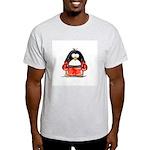 Red Boxing Penguin Ash Grey T-Shirt