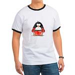 Red Boxing Penguin Ringer T