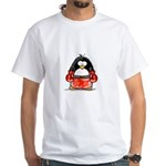 Red Boxing Penguin White T-Shirt
