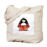 Red Boxing Penguin Tote Bag