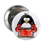 Red Boxing Penguin Button