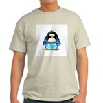 Blue Boxing Penguin Ash Grey T-Shirt