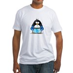 Blue Boxing Penguin Fitted T-Shirt