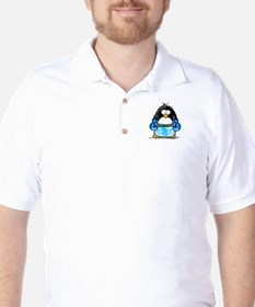 Blue Boxing Penguin Golf Shirt