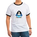 Blue Boxing Penguin Ringer T