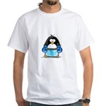 Blue Boxing Penguin White T-Shirt