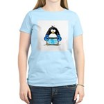 Blue Boxing Penguin Women's Pink T-Shirt