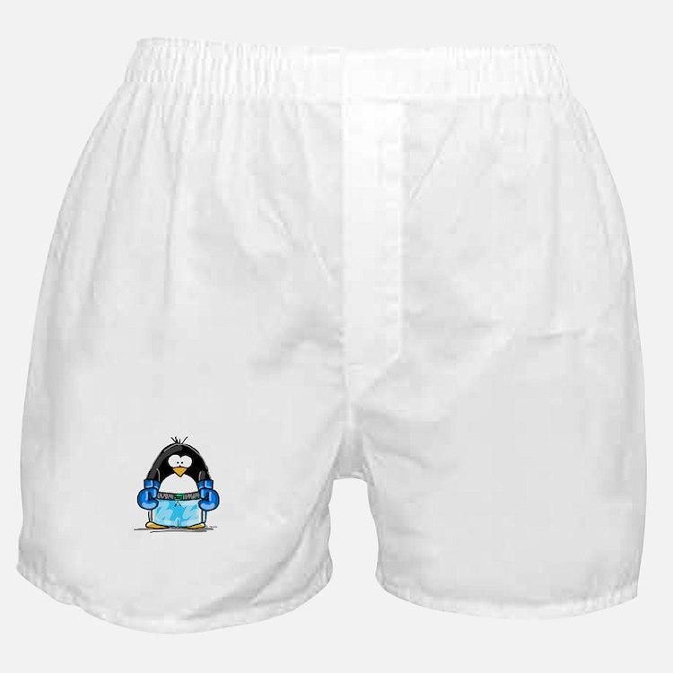 Blue Boxing Penguin Boxer Shorts