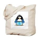 Blue Boxing Penguin Tote Bag