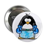 Blue Boxing Penguin Button