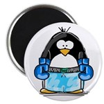 Blue Boxing Penguin Magnet