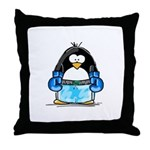 Blue Boxing Penguin Throw Pillow