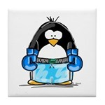 Blue Boxing Penguin Tile Coaster