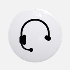 Headset headphones telephone Ornament (Round)