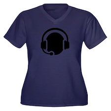 Headset call center Women's Plus Size V-Neck Dark