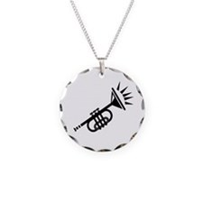 trumpet simple abstract black Necklace