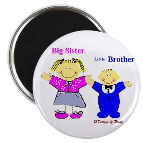 """Big Sister and Little Brother 2.25"""" Magnet (100 pa"""