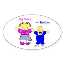 Big Sister and Little Brother Oval Decal