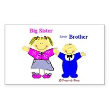 Big Sister and Little Brother Sticker (Rectangular