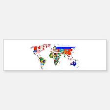 World flag map Bumper Bumper Bumper Sticker