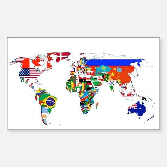 World flag map Bumper Stickers