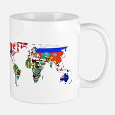 World flag map Mugs