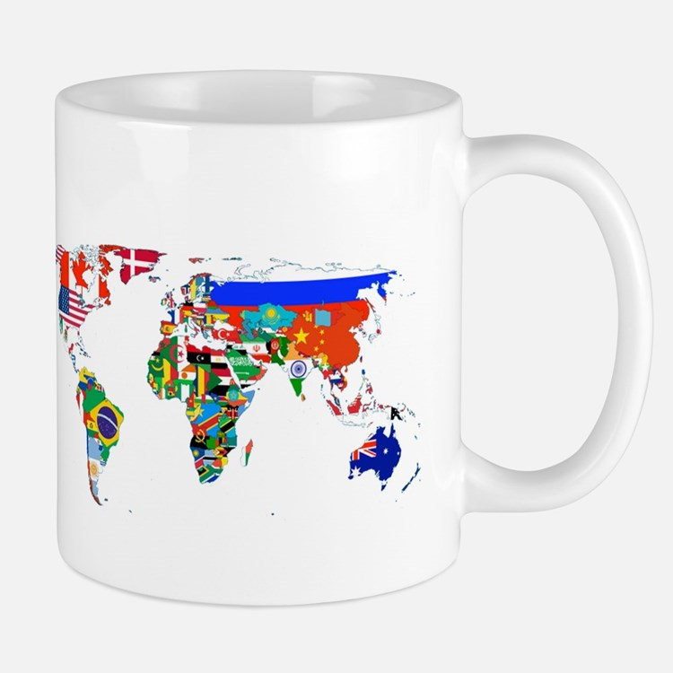 World flag map Mugs