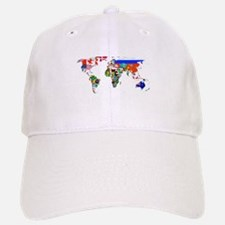 World flag map Baseball Baseball Baseball Cap