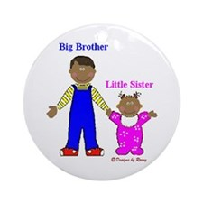 Black Big Brother Little Sister - Ornament (Round)