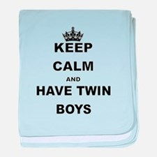 KEEP CALM AND HAVE TWIN BOYS baby blanket