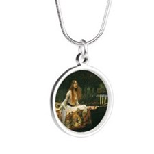 Lady of Shalott by JW Waterh Silver Round Necklace