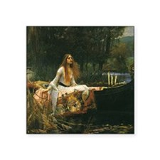 "Lady of Shalott by JW Water Square Sticker 3"" x 3"""