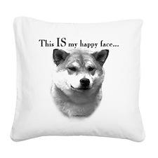 Shiba Inu Happy Face Square Canvas Pillow