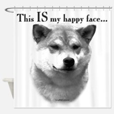 Shiba Inu Happy Face Shower Curtain