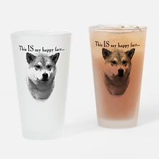 Shiba Inu Happy Face Drinking Glass