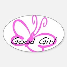 Good Girl (pink butterfly) Oval Bumper Stickers